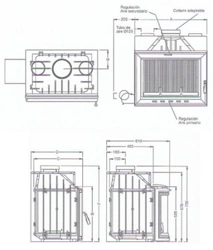 Esquema y medidas del Casete Hergom H 03 70 Turbo Plane
