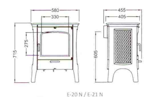 Esquema y medidas de la Estufa Hergom E 21 N