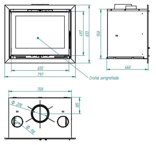 Esquema y medidas de la Casete Ferlux 760