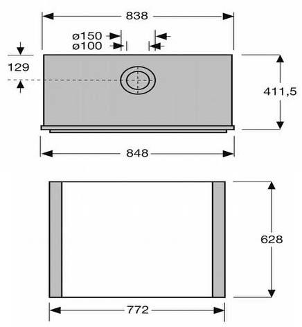 Esquema y medidas de la Chimenea Gas Faber Clear