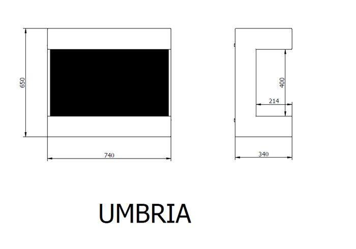 Esquema y dimensiones de la Estufa Bioetanol Ruby Fire Umbria