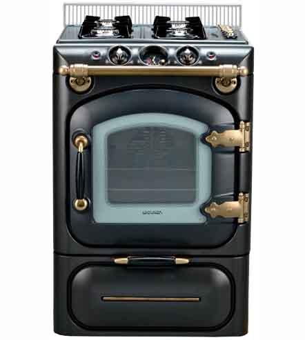 Vista frontal de la Cocina Lacunza Century Gas Negro