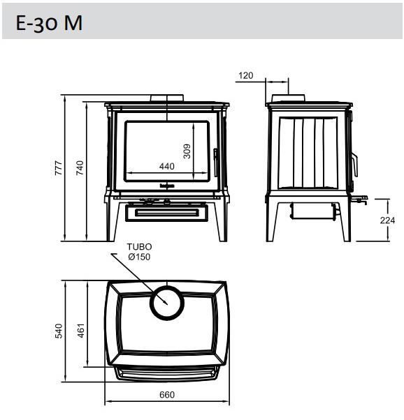 Esquema y medidas de la Estufa Hergom E 30 M ladrillo