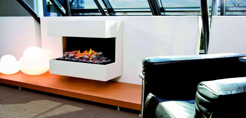 Vista del Efecto Fuego Ruby Fire Lucca instalada en sala de estar