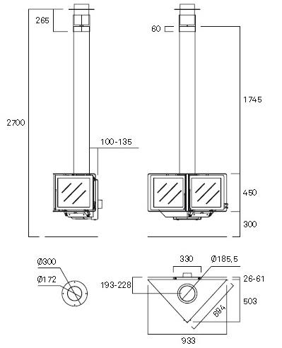 Esquema y medidas de la Chimenea Rocal Vertex Frontal