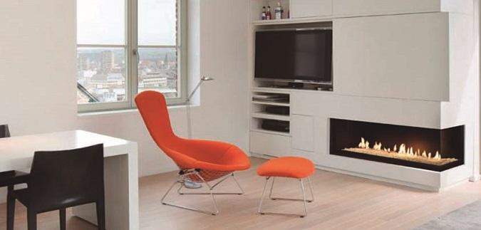 chimenea Bodart y Gonay Cosmos 145 C instalada en mueble modular