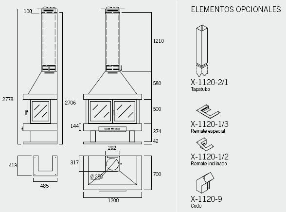 Esquema y medidas de la Chimenea Rocal Barbara 120 Frontal