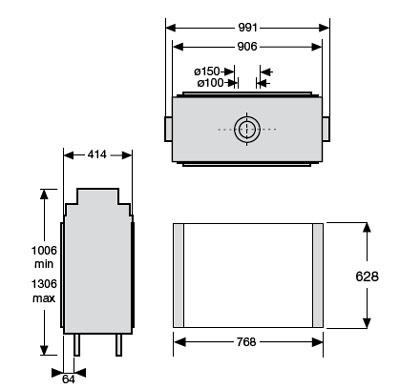 Esquema y medidas de la Chimenea Gas Faber Bright Doble Cara