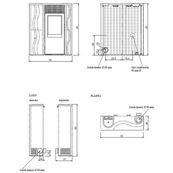 Esquema y medidas de la Estufa Pellet Edilkamin Micron