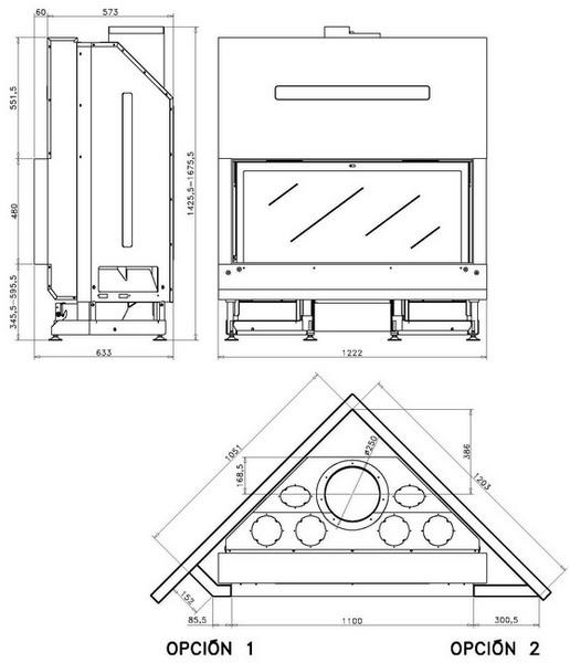 Esquema y medidas del Hogar Rocal G 505