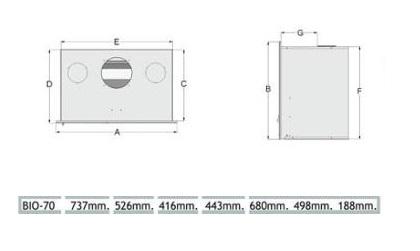 Esquema y medidas de la Casete Tnc Bio 70