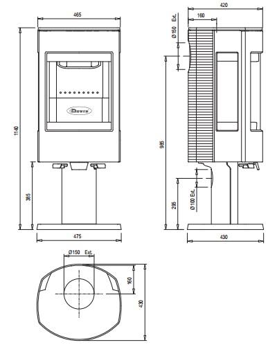 Esquema y medidas de la Estufa Dovre Astroline 4 Pie