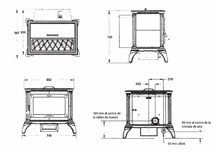 Esquema y medidas de la Estufa Pellet Hergom Heritage