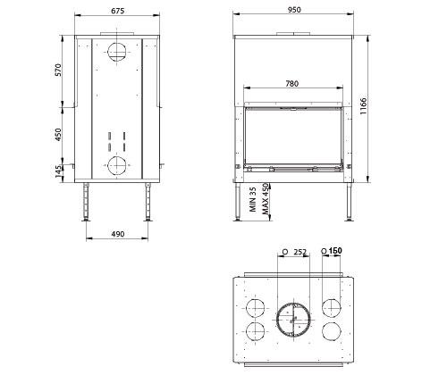 Esquema y medidas del Hogar M Design Luna 1150v Gold Plus+